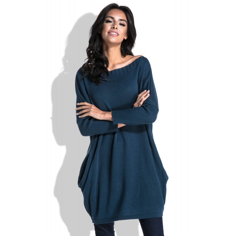 Pulover tricotat dama bleumarin lung cu buzunare