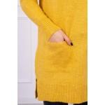 Pulover tricotat dama mustar lung cu buzunare