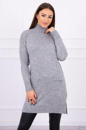 Pulover tricotat dama gri lung cu buzunare
