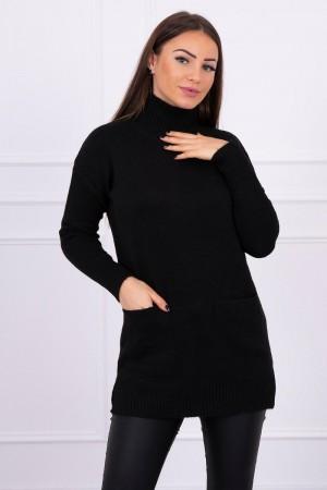 Pulover tricotat dama negru lung cu buzunare