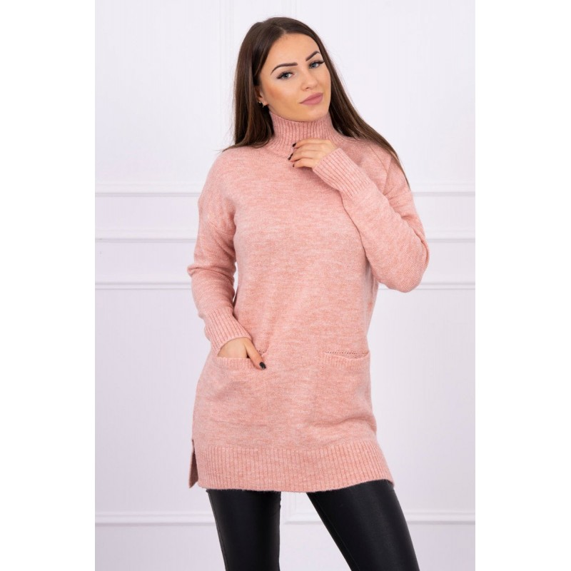 Pulover tricotat dama roz lung cu buzunare
