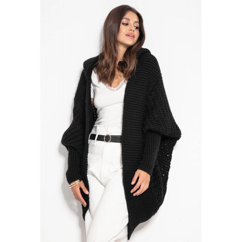 Cardigan lana de alpaca negru tip fluture