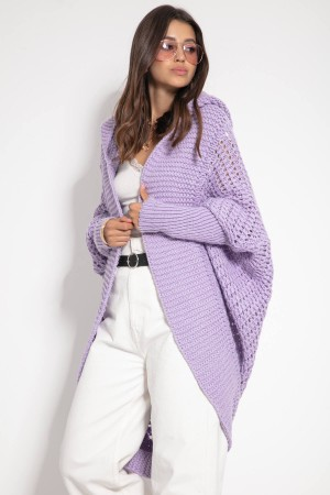 Cardigan lana de alpaca violet tip fluture