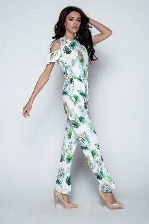 Salopeta de dama cu model floral tropical F493