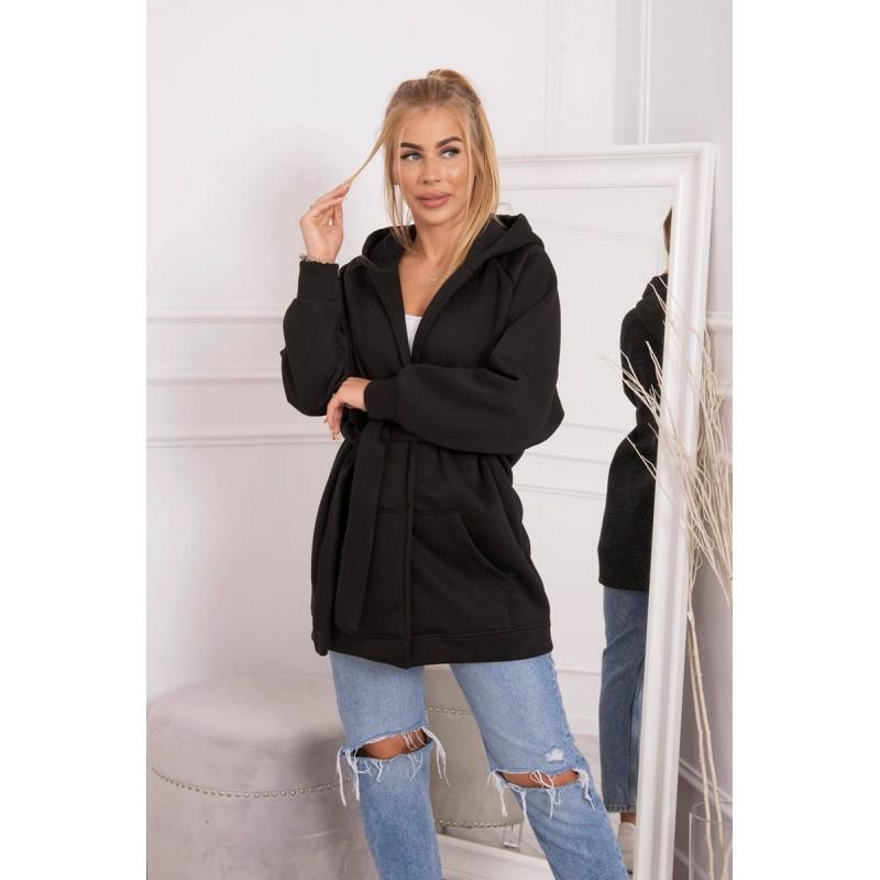 Cardigan de dama negru casual sport cu cordon in talie