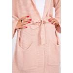 Cardigan de dama roz casual sport cu cordon in talie