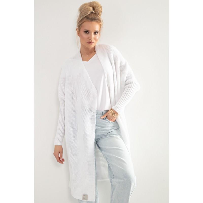 Cardigan de dama alb lung tricotat