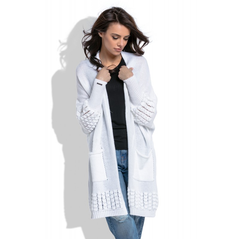Cardigan de dama alb cu model decorativ tricotat