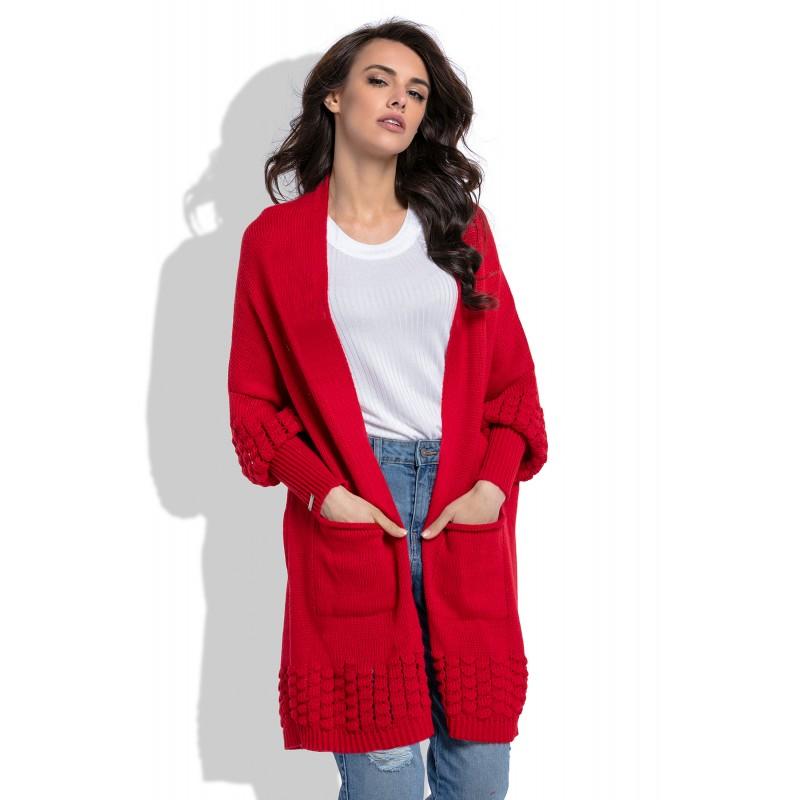 Cardigan de dama rosu cu model decorativ tricotat