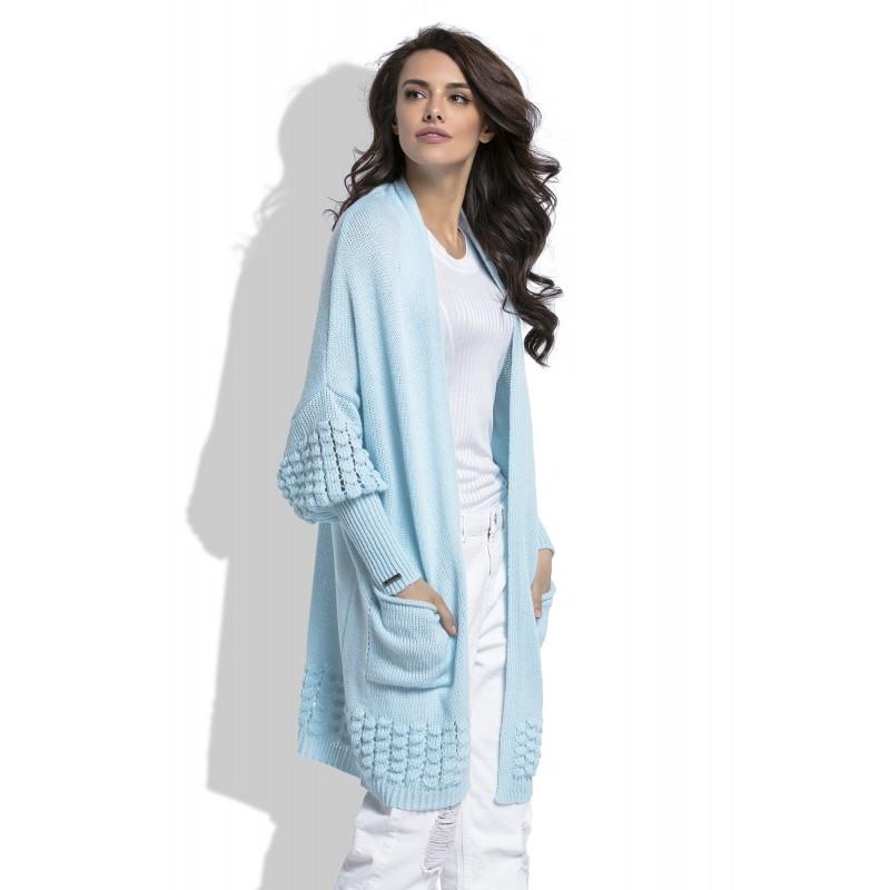 Cardigan de dama skyblue cu model decorativ tricotat