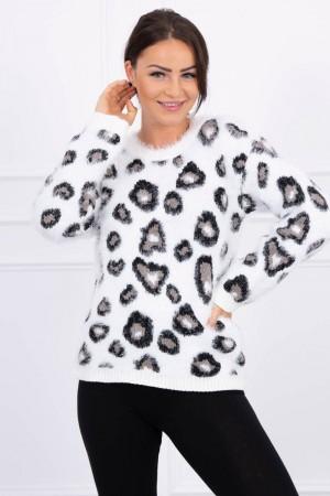 Pulover dama pufos cu imprimeu leopard Alb