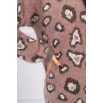 Pulover dama pufos cu imprimeu leopard Camel
