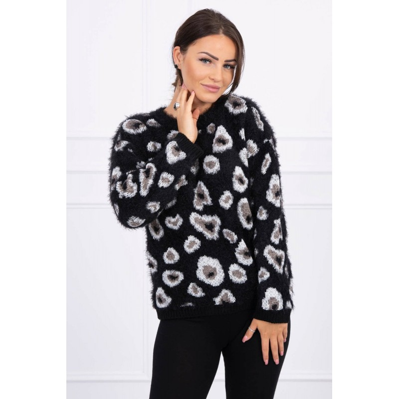 Pulover dama pufos cu imprimeu leopard negru