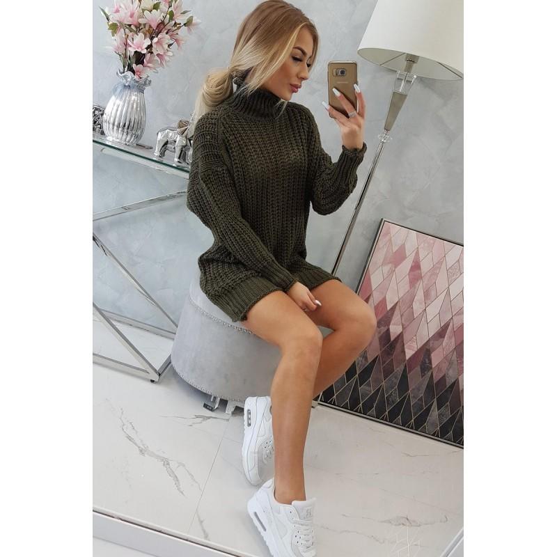 Rochie tricotata cu lungime mini kaki