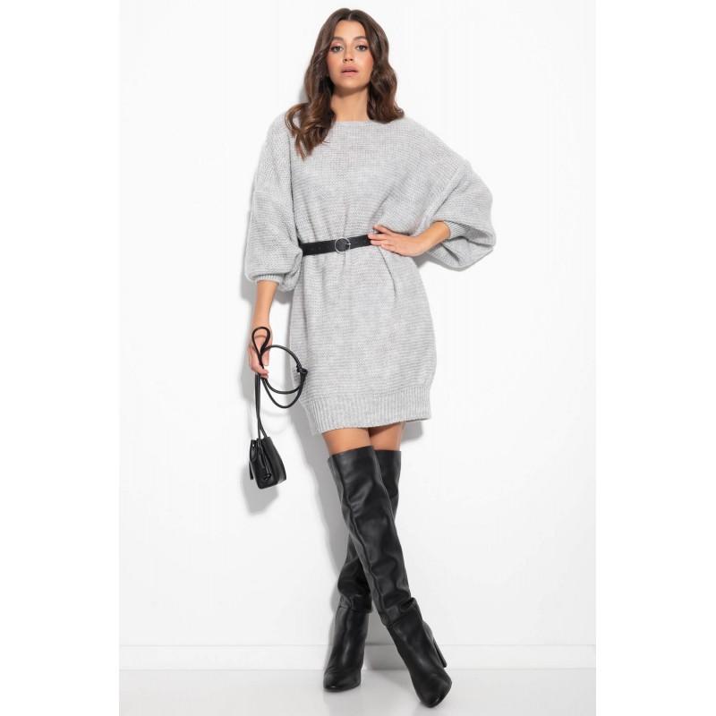 Rochie tricotata cu lungime medie gri