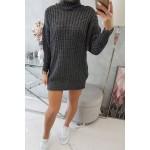 Rochie tricotata cu lungime mini gri-inchis