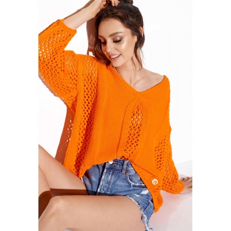 Pulover dama casual cu decupaje portocaliu