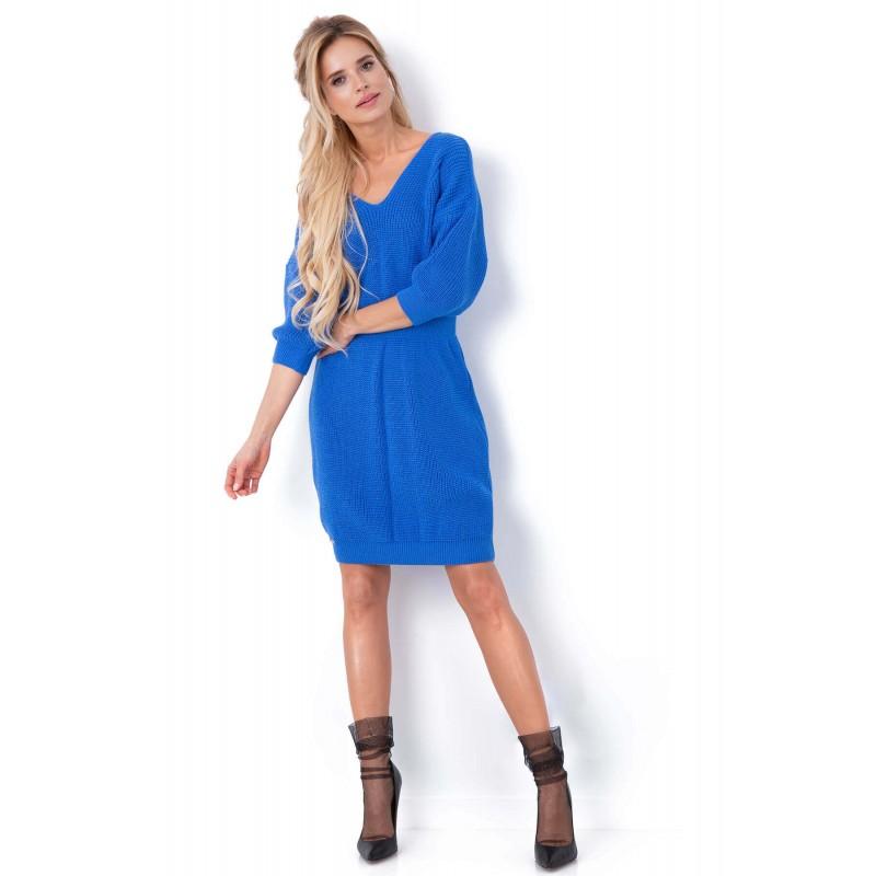 Rochie tricotata cu decolteu spate albastra