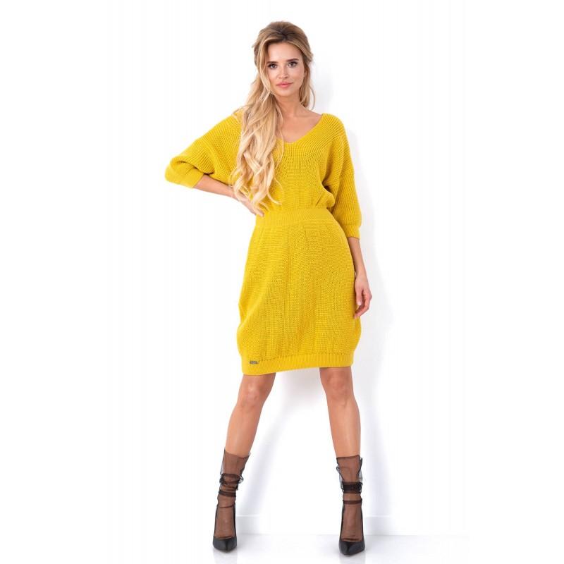 Rochie tricotata cu decolteu spate galben