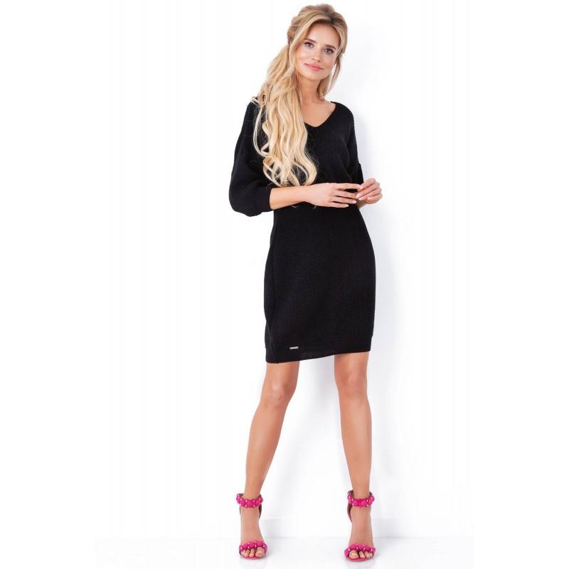 Rochie tricotata cu decolteu spate negru