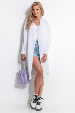 Cardigan dama alb tricotat cu lungime medie