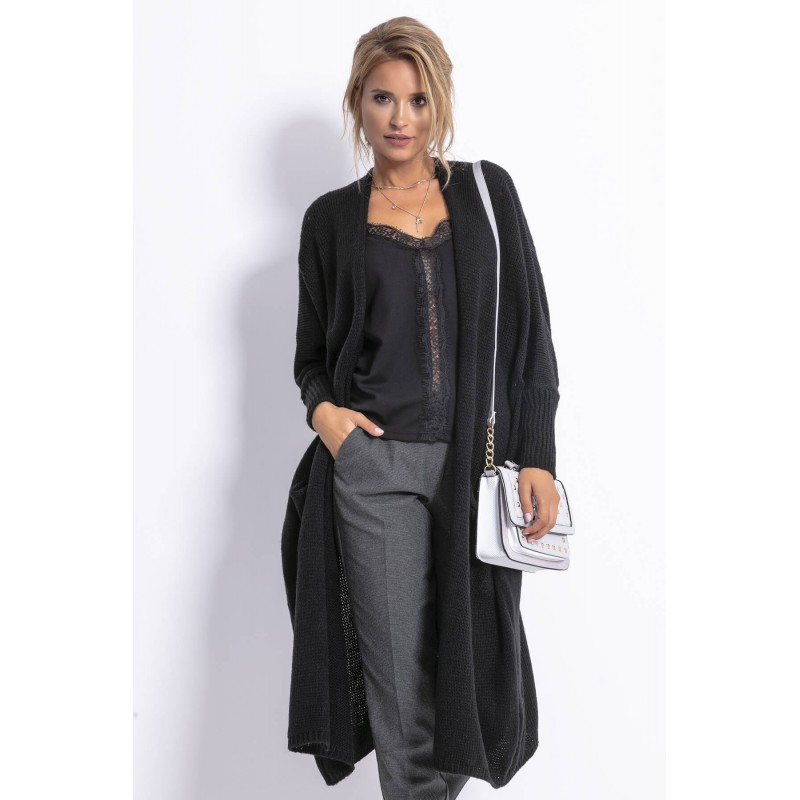 Cardigan dama tricotat elegant cu maneci lungi negru
