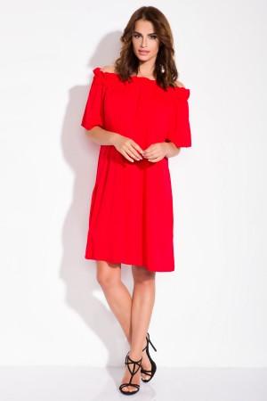 Rochie rosie casual cu maneca scurta banda elastica