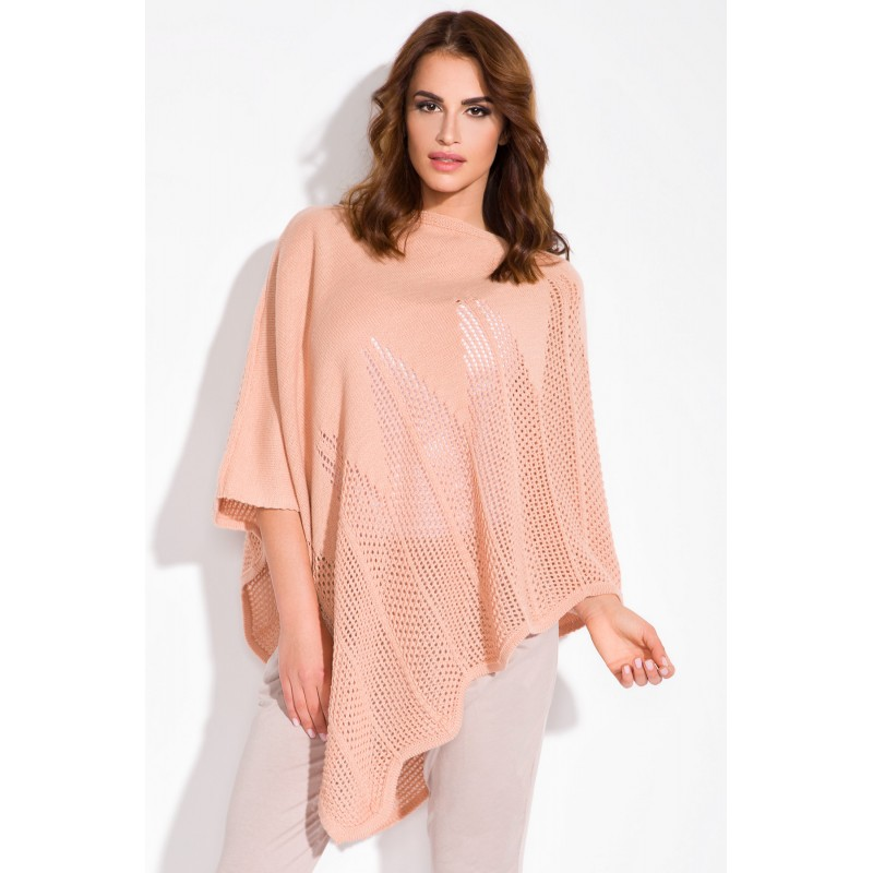 Poncho super trendy tricotat asimetric peach