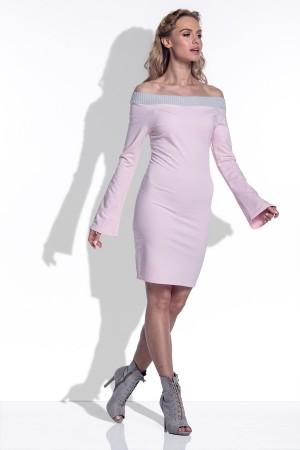Rochie mini cu umerii la vedere si maneci lungi evazate roz-deschis
