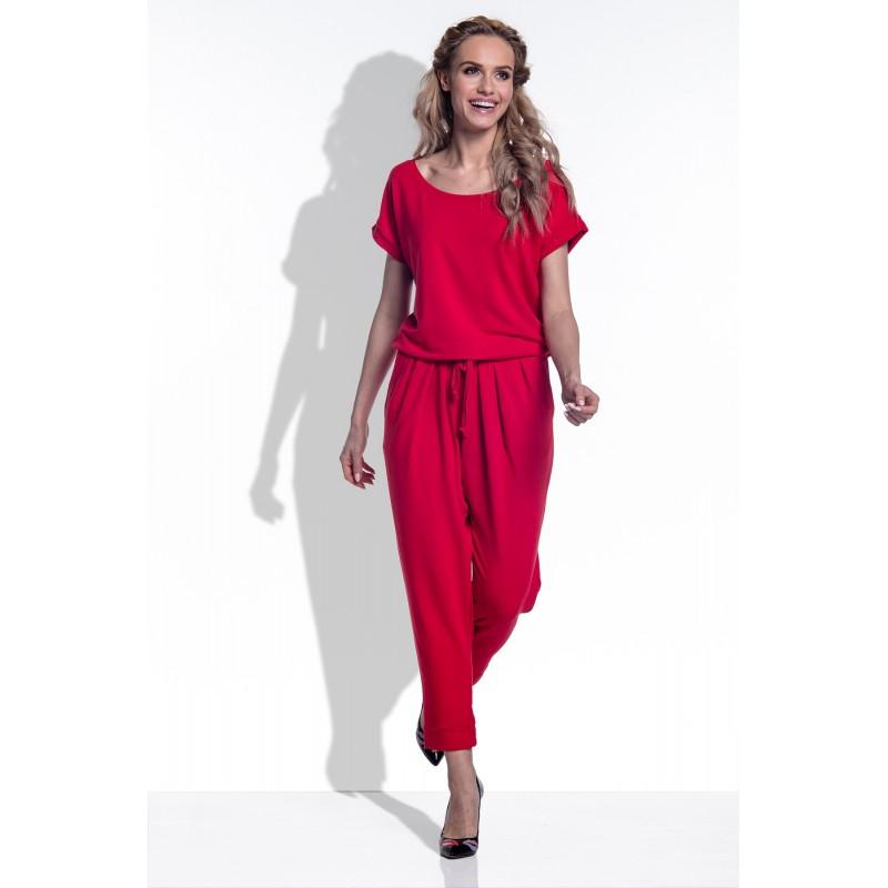 Salopeta dama cu maneci scurte si pantaloni trei sferturi rosie