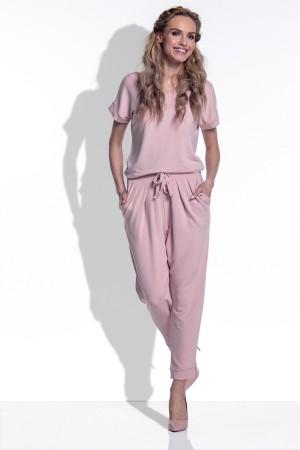 Salopeta dama cu maneci scurte si pantaloni trei sferturi roz