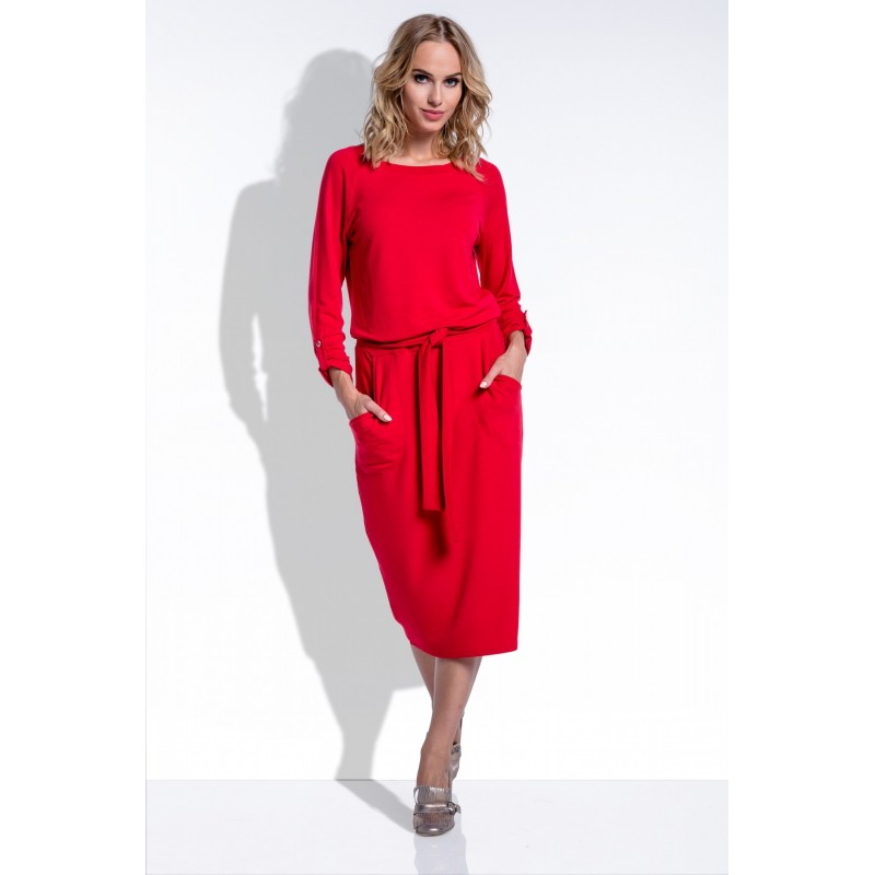 Rochie eleganta medie cu buzunare laterale si cordon rosie