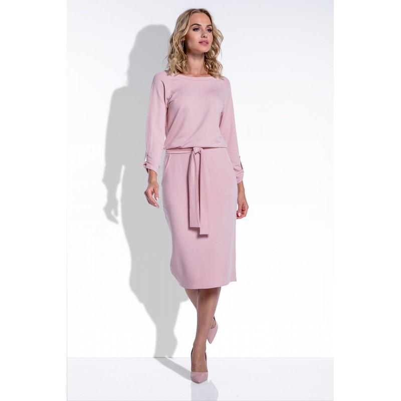 Rochie eleganta medie cu buzunare laterale si cordon roz