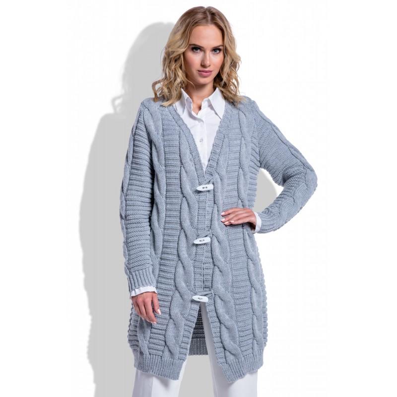 Cardigan dama tricotat cu impletituri decorative gri