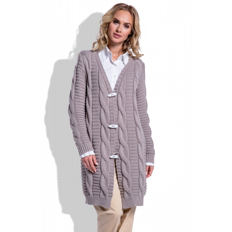 Cardigan dama tricotat cu impletituri decorative maro