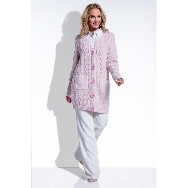 Cardigan dama cu buzunare si nasturi supradimensionati roz