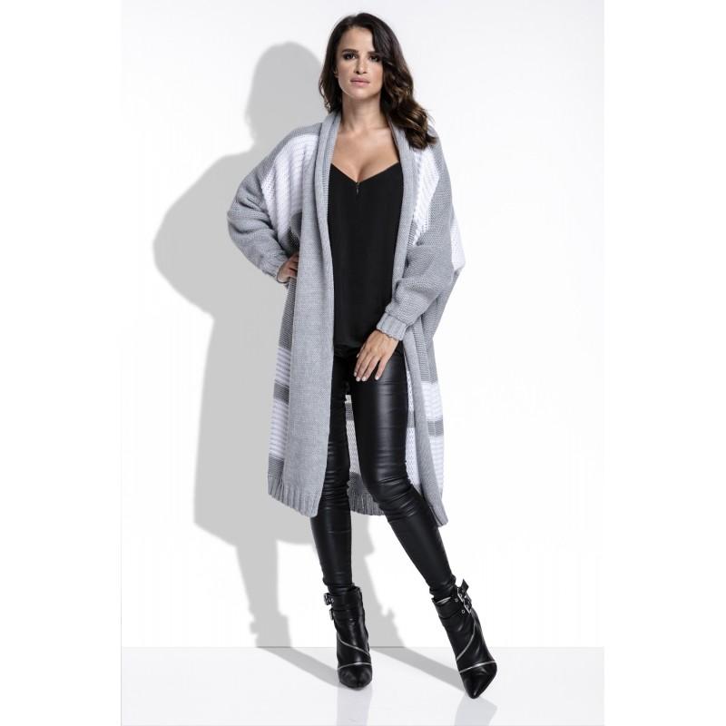 Cardigan dama lung cu dungi asimetrice gri