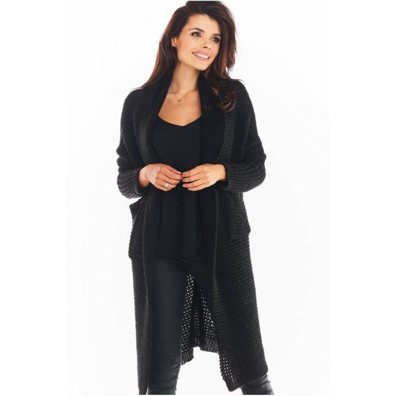 Cardigan dama lung si supradimensionat negru