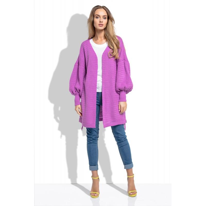 Cardigan de dama lila cu maneci lungi bufante