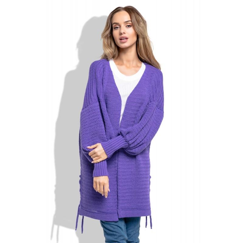 Cardigan de dama violet cu maneci lungi bufante
