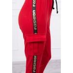 Pantaloni de dama cargo rosii cu buzunare
