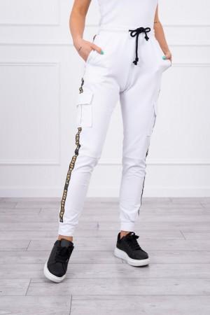 Pantaloni de dama cargo albi cu buzunare