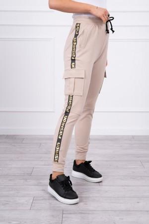 Pantaloni de dama cargo bej cu buzunare