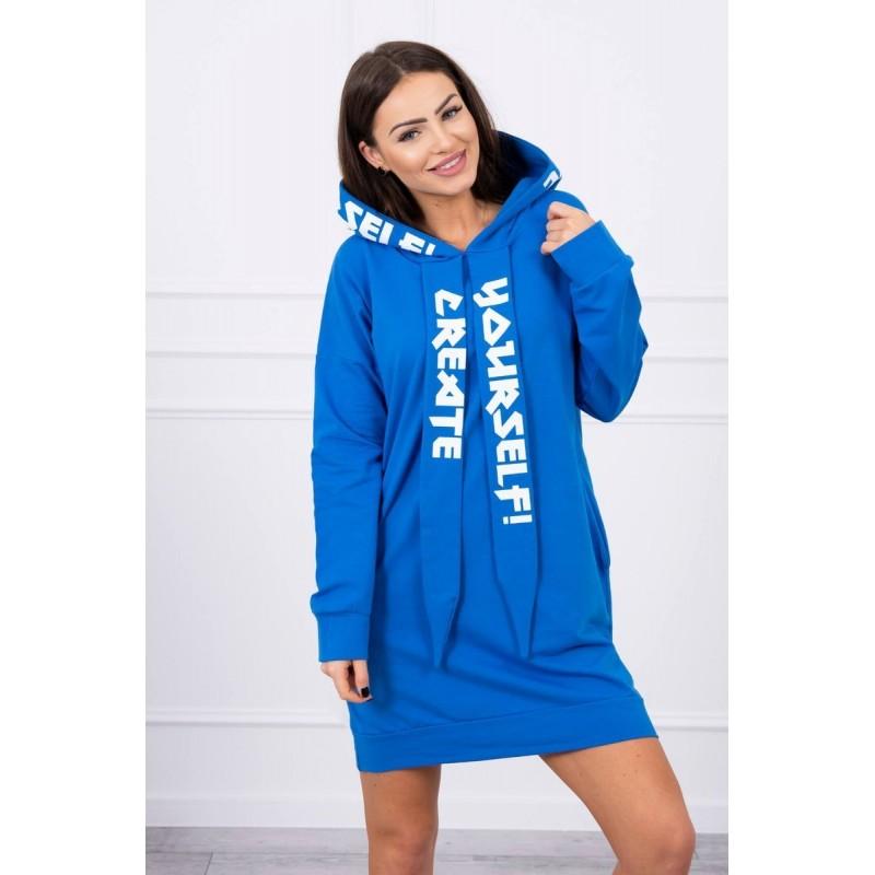 Rochie albastra sport tip hanorac mini cu gluga