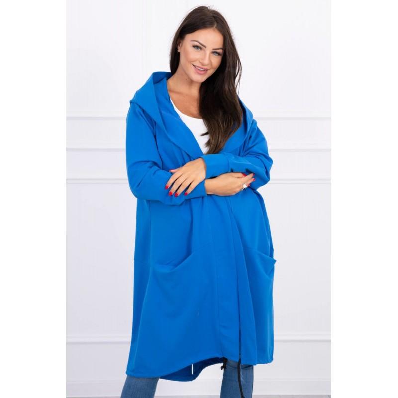 Cardigan lung asimetric albastru cu gluga