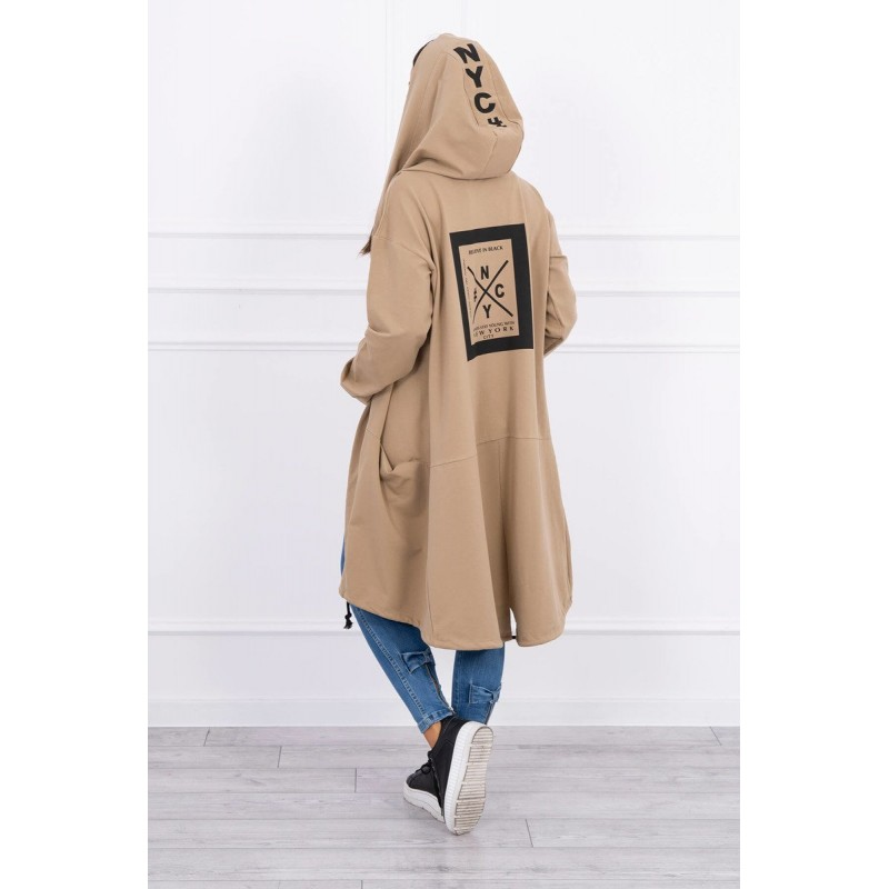 Cardigan lung asimetric camel cu gluga