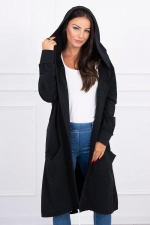 Cardigan lung asimetric negru cu gluga