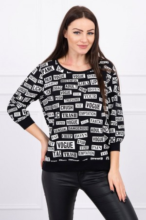 Bluza de dama imprimeu casual-sport neagra