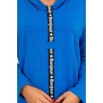 Rochie albastra casual-sport cu guler si snur decorativ