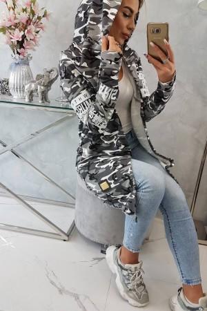 Cardigan dama cu imprimeu camuflaj cu gluga